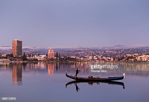 gondola at lake merritt at dusk - oakland california stock pictures, royalty-free photos & images