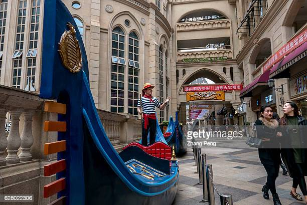 Gondola boats are decorated on the Italian styled street Wuhan Optical Valley Walking Street one of the longest commercial walking streets in the...