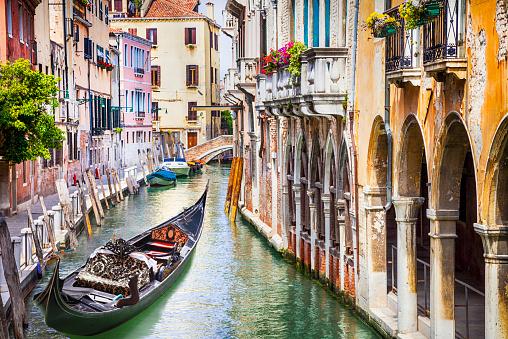 Gondola in colorful Venice, Italy 467389202