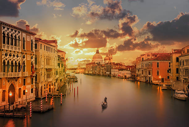 Gondola In The Grand Canal At Sunset Wall Art