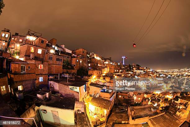 Gondola lift built by the LeitnerPoma group popularly called 'Bondinho do Alemao' spans the favela Complexo do Alemao allowing residents a faster...