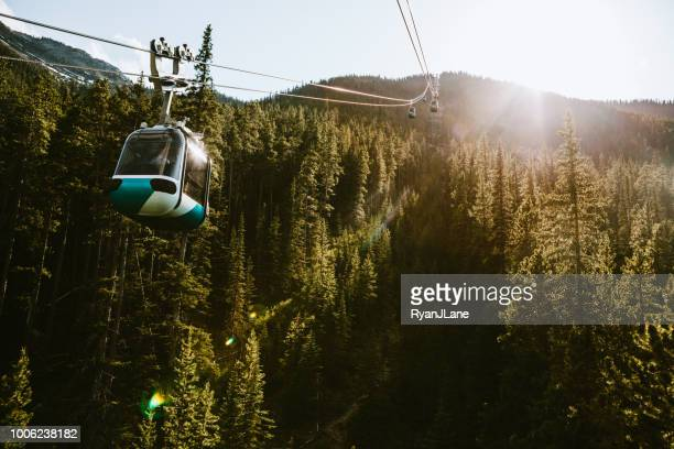 Gondola Lift Going Up Mountain in Banff Canada
