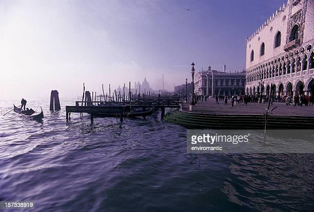 Gondola near the Doges Palace, Venice, Italy.