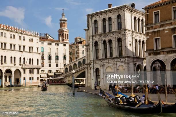 Gondola on canal, Venice, Veneto, Italy, Europe
