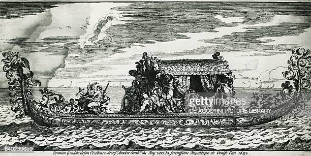 Gondola reserved for the Ambassador of France navigating towards the Serene Republic of Venice engraving Italy 17th century Venice Museo Correr