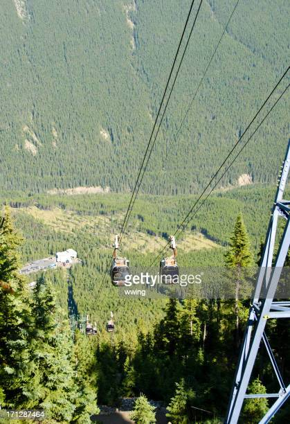 gondola ride in banff national park - sulphur mountain stock pictures, royalty-free photos & images