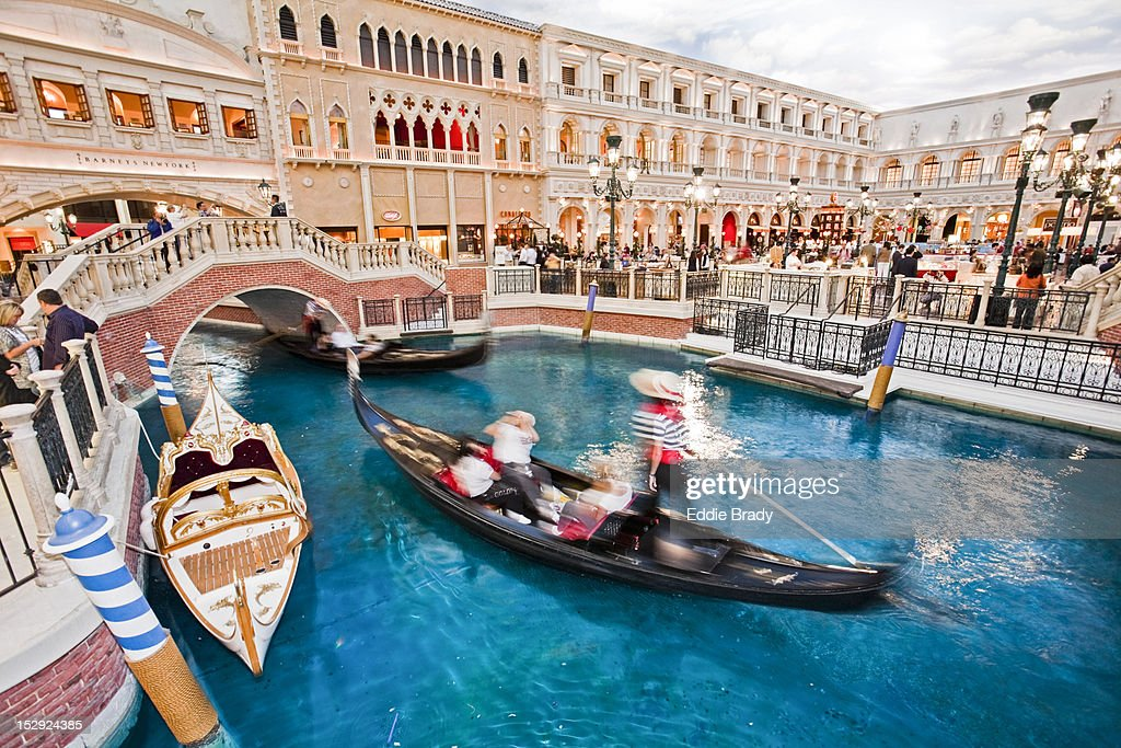 Gondola rides at Venetian Hotel. : Stock Photo