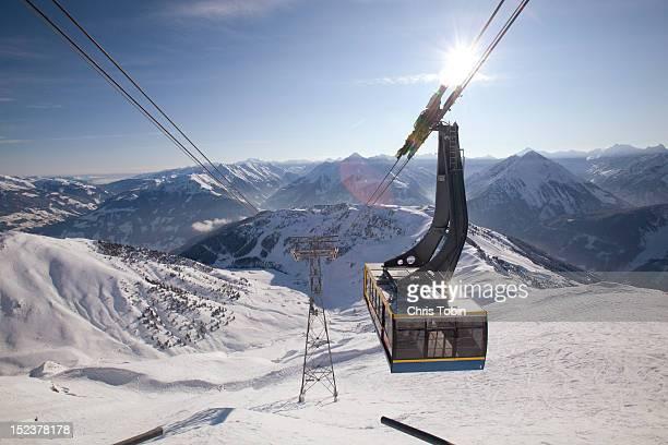 Gondola ski lift over the mountains
