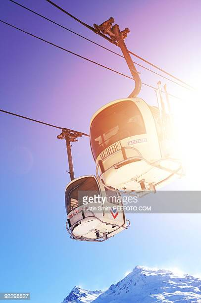 gondola ski lifts  - meribel stock photos and pictures