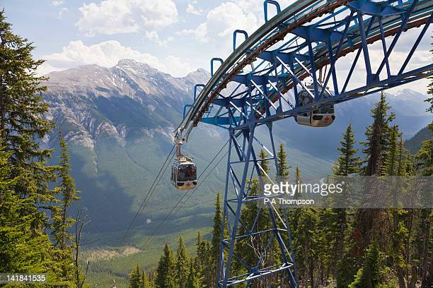 gondola, sulphur mountain, banff, alberta, canada - sulphur mountain stock pictures, royalty-free photos & images