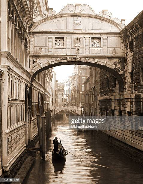 Gondola Under Bridge of Sighs, Sepia Toned