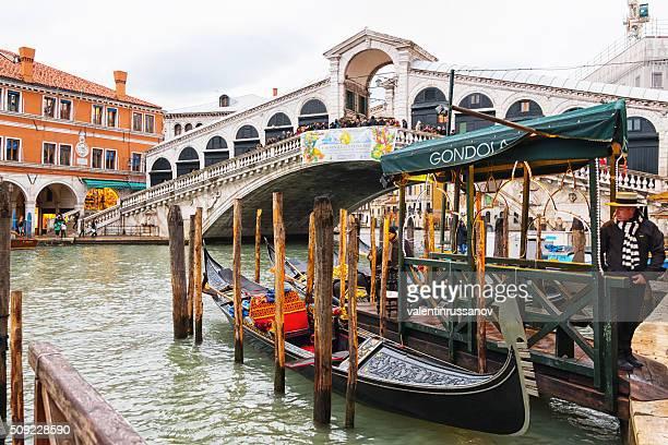 Gondola waiting in front of Rialto bridge, Venice
