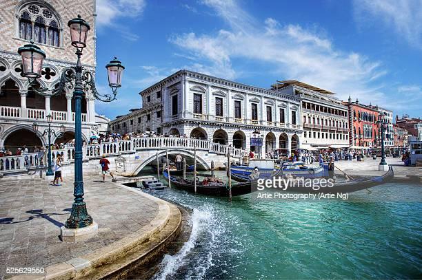 Gondolas Along Riva Degli Schiavoni, Venice, Italy