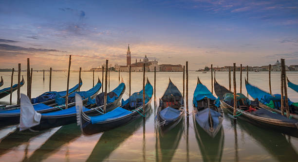 Gondolas And San Giorgio Island, Venice. Wall Art