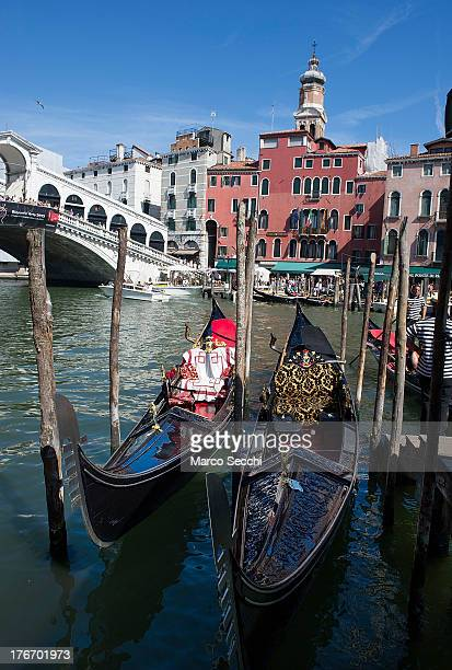 Gondolas are parked at the same pontoon where few hours earlier a German tourist was crashed to death on August 17 2013 in Venice Italy A German...