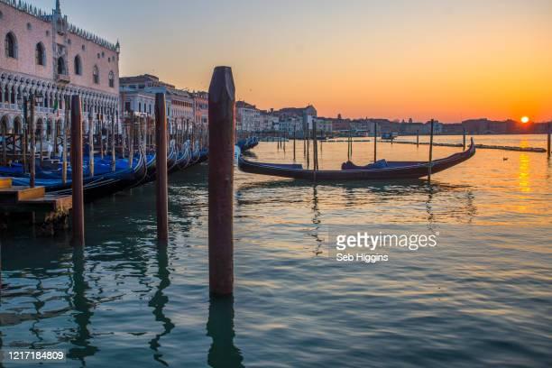gondolas at dawn - gondel stock-fotos und bilder