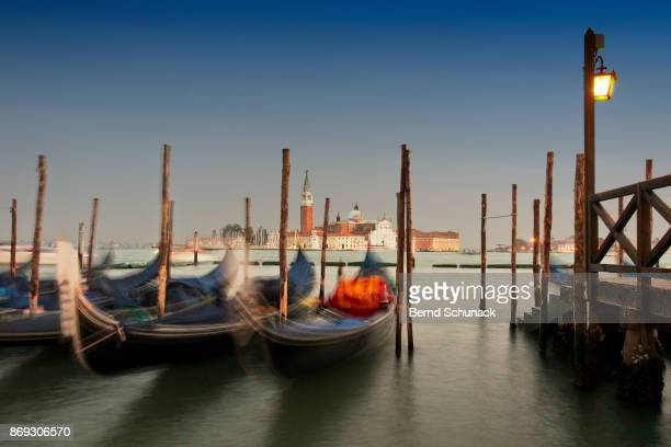 gondolas at the blue hour - bernd schunack stock photos and pictures
