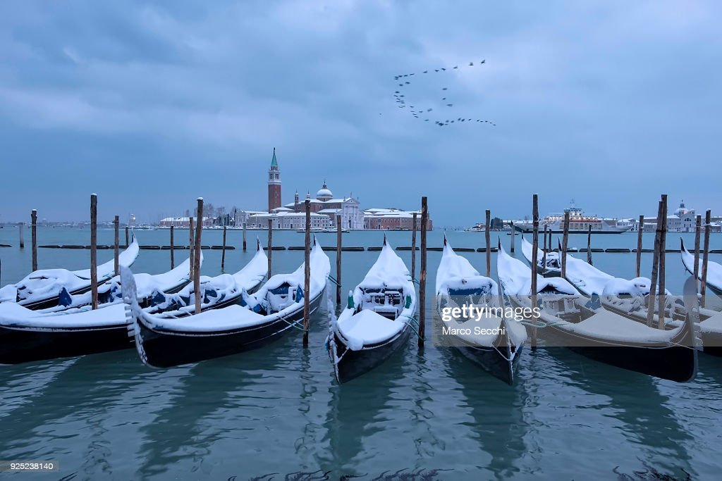 Snow Blankets Venice As Siberian Weather Front Sweeps Across Europe : News Photo