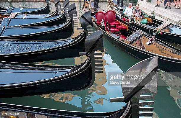 Gondolas draped in mourning are seen in Bacino Orseolo where on August 17 a German tourist was killed on August 18 2013 in Venice Italy A German...