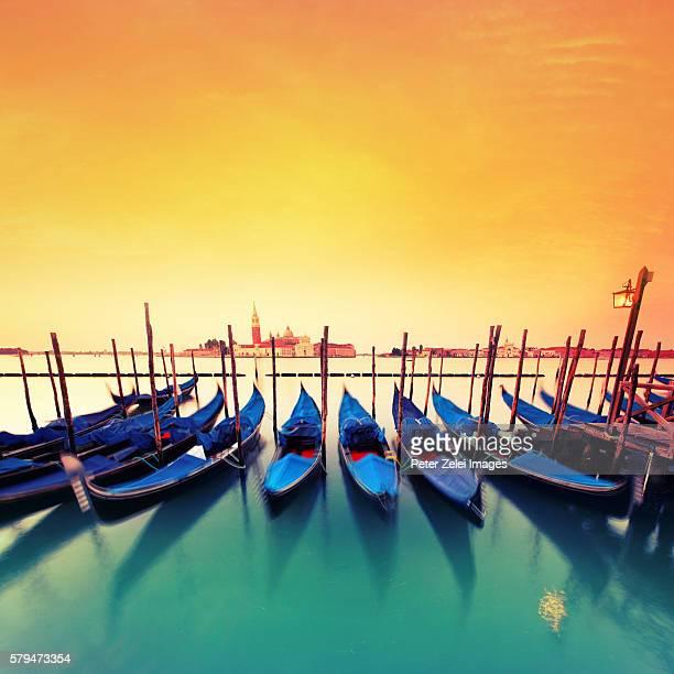 Gondolas in Venice in the morning