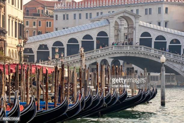 Gondolas moored near Rialto Bridge, Venice Italy