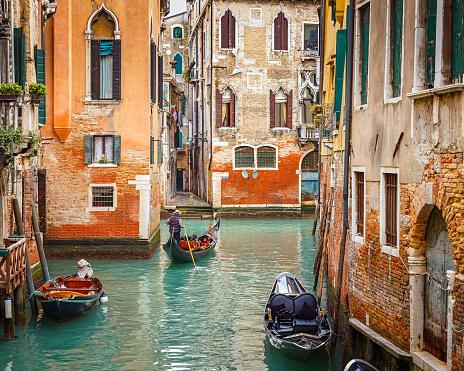 Gondolas on canal in Venice 516649272