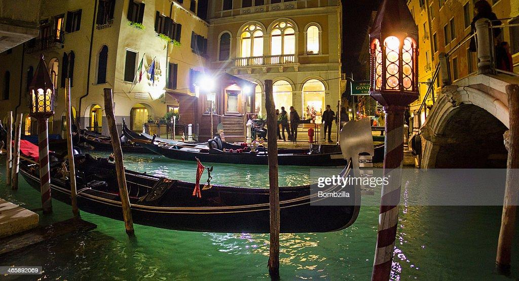 Gondolas on the canal, Venice, Italy : Stock Photo