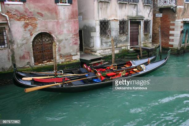 Gondolas with ornate gilded details tied up on the banks of the historic canals in Venice.