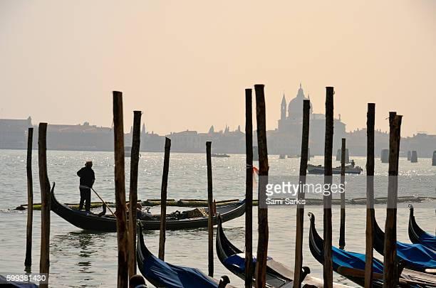 Gondolas with Santa Maria della Salute in the background, Venice, Italy, Europe