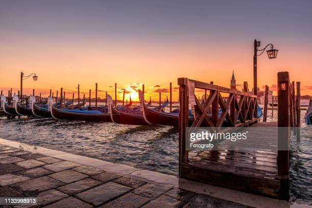 gondole in piazza san marco in venice - luogo d'interesse stock pictures, royalty-free photos & images