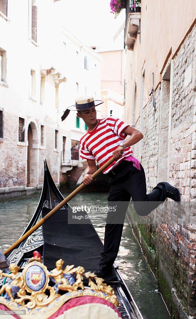 Gondolier in Venice : Stock Photo