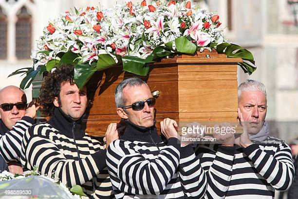 Gondoliers carry the coffin of Valeria Solesin the only Italian victim of Paris attacks at Saint Mark's Square on November 24 2015 in Venice Italy...