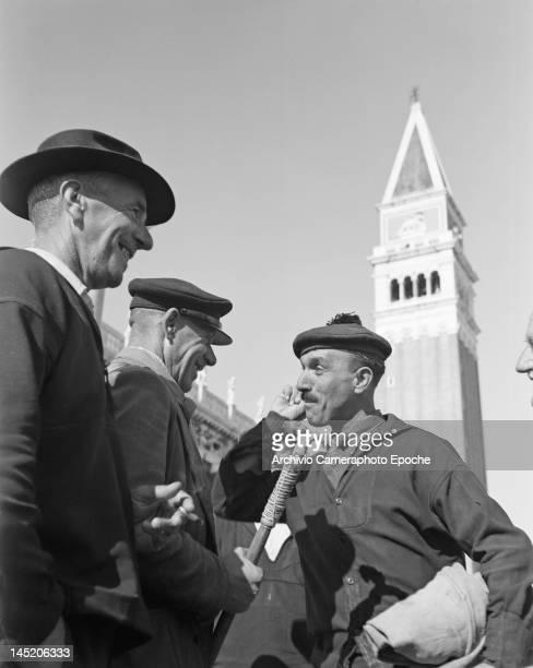 Gondoliers Forcellin Giovanni Marini Fortunato and Romeo Alzetta in Venice 1947