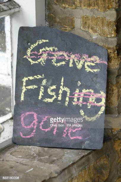 A 'Gone Fishing' sign at a home in Clanfield West Oxfordshire