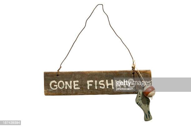 gone fishing sign isolated on white