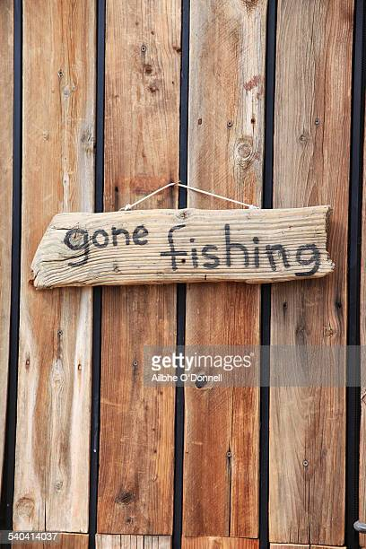 Gone fishing wooden sign