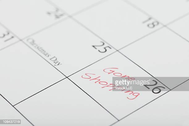 Gone shopping message on calendar