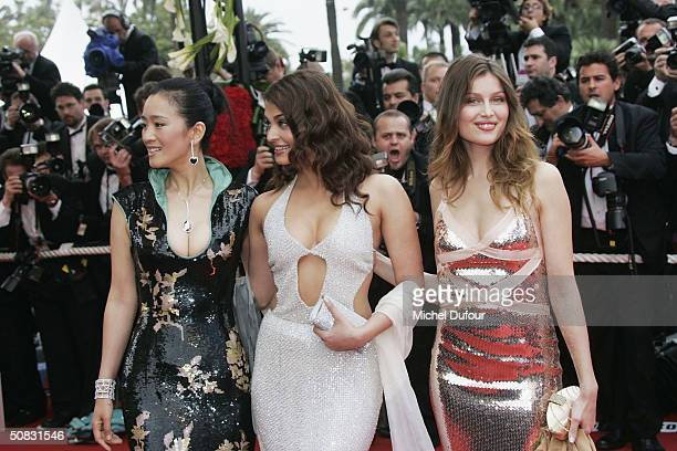 Gong Li Aishwarya Rai and Laetitia Casta attend the 57th Cannes Film Festival Opening Ceremony and screening of opening film 'La Mala Educacion' at...