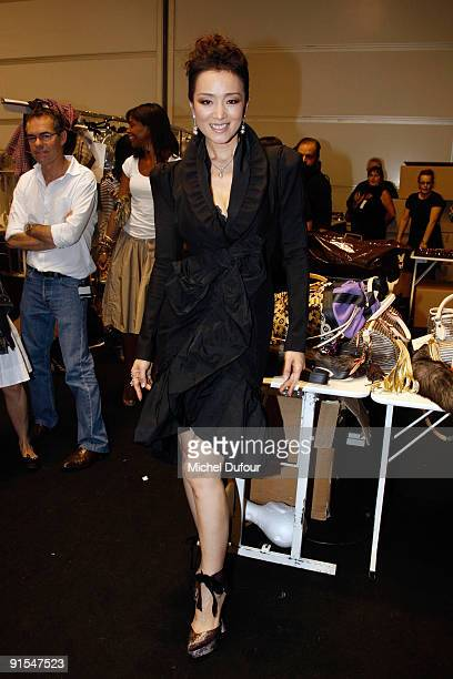 Gong Li attends Louis Vuitton Pret a Porter show as part of the Paris Womenswear Fashion Week Spring/Summer 2010 at Cour Carree du Louvre on October...