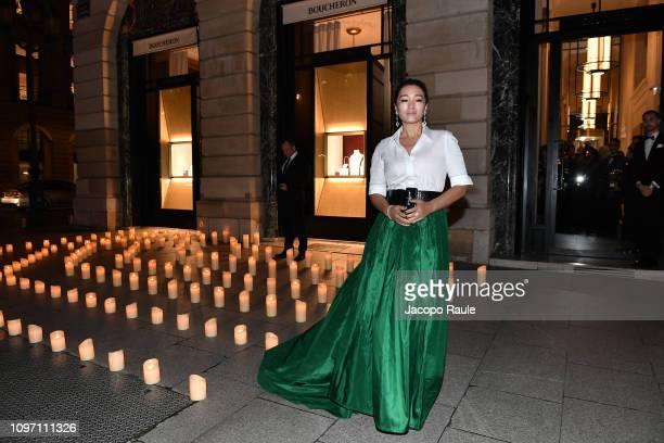 Gong Li is seen arriving at Boucheron dinner on January 20 2019 in Paris France
