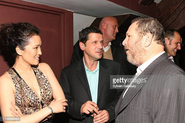 Gong Li Peter Webber and Harvey Weinstein during MetroGoldwynMayer Pictures' and The Weinstein Company's Premiere After Party for 'Hannibal Rising'...
