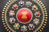 ASEAN gong with flags of the member countries in Phnom Penh