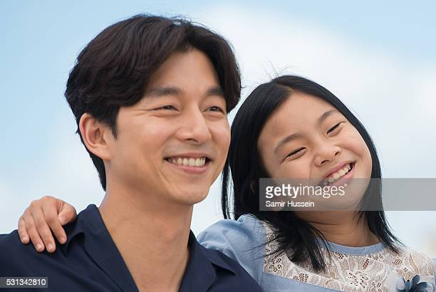 """Gong Yoo and Kim Su-an attendsthe """"Train To Busan """" Photocall at the annual 69th Cannes Film Festival at Palais des Festivals on May 12, 2016 in..."""