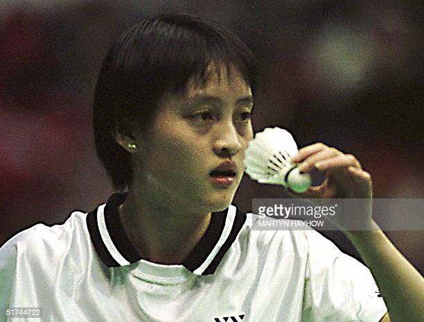 Gong Zhicha of China concentrates befre serving to Ra KyungMin of Korea in their Yonex All England Open Badminton semifinal in Birmingham 14 March...