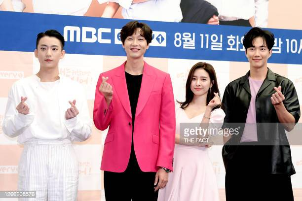 Gongchan of B1A4 actor Ji HyunWoo actress Kim SoEun actor Park GeonIll during MBC Every1 Drama 'Love is Annoying but I Hate Being Lonely' press...