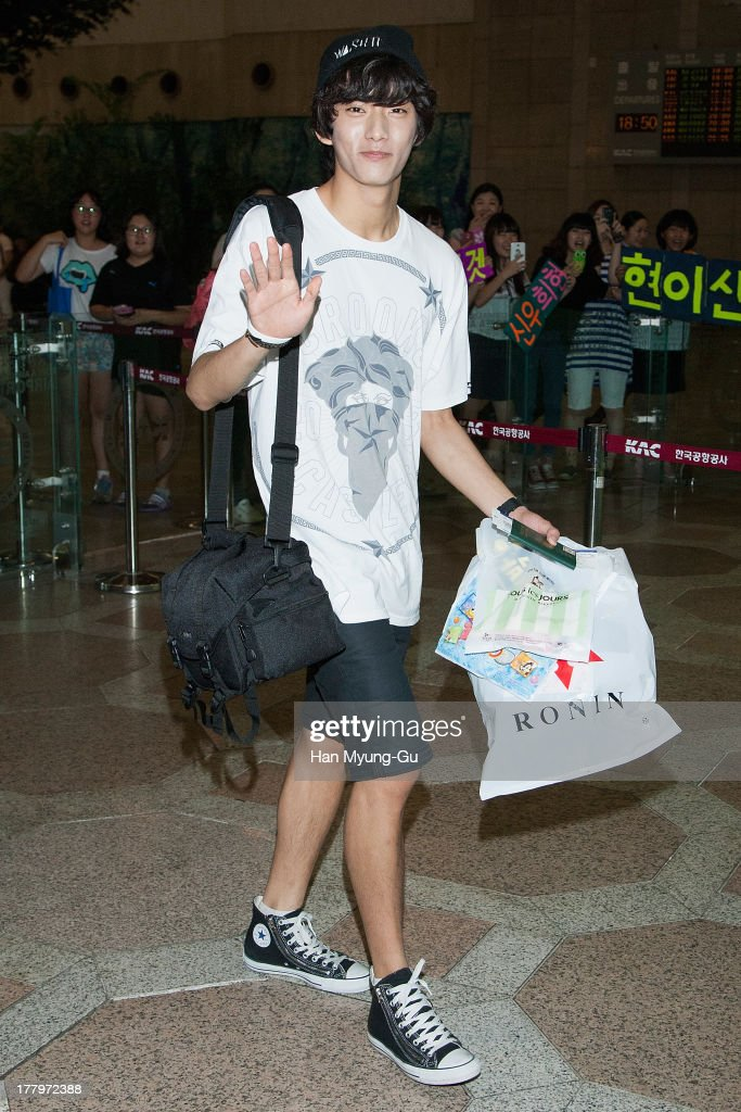 Gongchan of South Korean boy band B1A4 is seen on departure at Gimpo International Airport on August 26, 2013 in Seoul, South Korea.