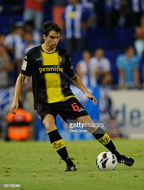 Goni of Real Zaragoza in action during the La Liga match between RCD Espanyol and Real Zaragoza at Nuevo Estadio de CornellaEl Prat on August 25 2012...