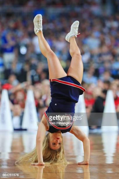 Gonzaga Bulldogs cheerleader performs against the North Carolina Tar Heels during the 2017 NCAA Men's Final Four National Championship game at...
