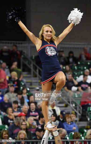 Gonzaga Bulldogs cheerleader performs before the team's semifinal game of the West Coast Conference basketball tournament against the San Francisco...