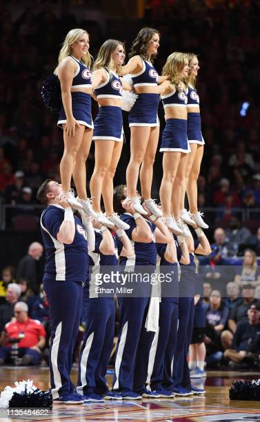 Gonzaga Bulldogs cheerleaders perform during the championship game of the West Coast Conference basketball tournament against the Saint Mary's Gaels...